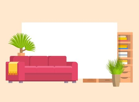 Furniture in living or bedroom objects set with leather sofa and wooden shelf with frame and books vector cartoon illustration. Stylish furniture with home plants.  イラスト・ベクター素材