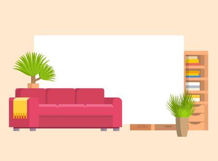 Möbel in Wohn- oder Schlafzimmerobjekten mit Ledersofa und Holzregal mit Rahmen und Büchervektorkarikaturillustration. Stilvolle Möbel mit heimischen Pflanzen.