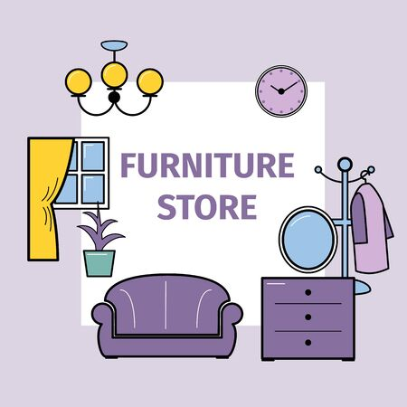 Living room interior design with furniture for store vector illustration. Sofa, lamp and bookcase, tv, lamps and chest of drawers. Flat style furniture for living room on lilac background.