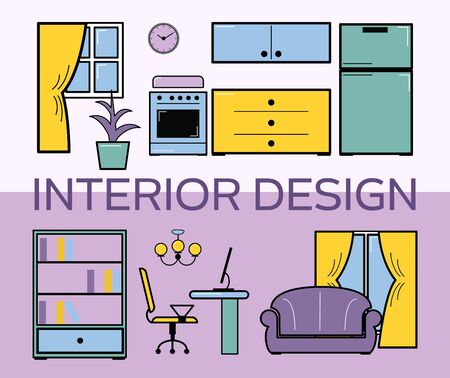 Interior design room flat style set vector illustration. Living room with furniture. Lilac interior design room. Shelfs with books, sofa, computer table and living room with kitchen.