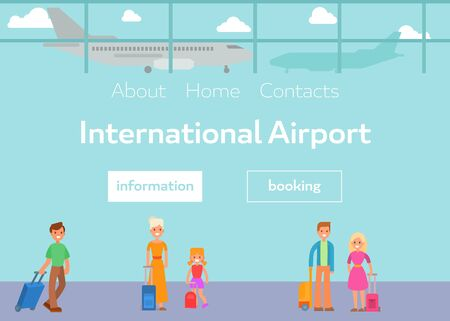 Tourists in international airport terminal with luggage vector illustration. Cartoon flat passengers and booking at airport web template.