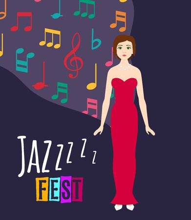 Young beautiful girl sings jazz song vector illustration. Jazz singer and festival poster with dark blue background and sounds of music, icons of colorful musical notes.