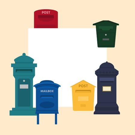 Mail box vector illustration with space for text banner. Post mailbox or postal letterbox of American or European mailing and set of postboxes for delivery mailed letters.