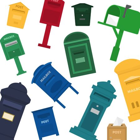 Mailboxes, letter boxes, pedestals for sending and receiving letters and correspondence vector pattern. Mail boxes of different countries and shapes illustration in a cartoon style. Ilustracja