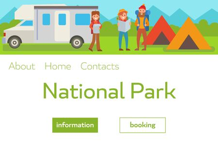Camping park landscape vector illustration with travelers with backpacks, tents and van. Webpage template for summer camp, nature tourism, camping, hiking, trekking, etc. Иллюстрация