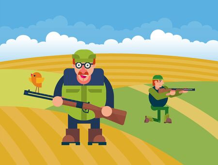 Cartoon hunters vector illustration. Various characters of hunters at action poses. Hunting character with gun rifle, male with shotgun on green field background. Illustration