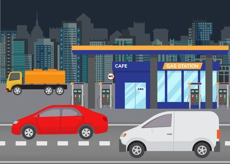 Car refueling petrol at gas station vector illustration. City building skyline in the background with modern cars on road and gas station. Illustration