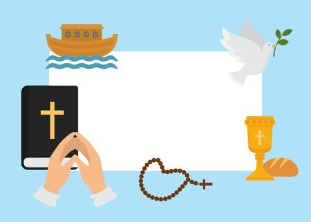 Christianity religion symbols vector illustration. Bible for christening, cross, beads and human hands folded in prayer with dove. Appeal to the God. Faith and hope. Religious christian motifs.