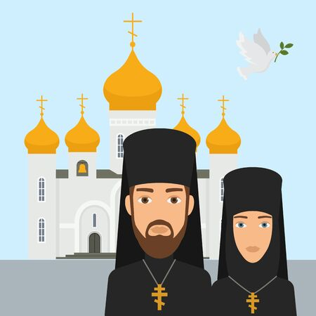 Orthodox christianity religion vector illustration. Priest and nun with cross and orthodox christianity white church and golden top. Faith in God, Christianity, Orthodoxy.