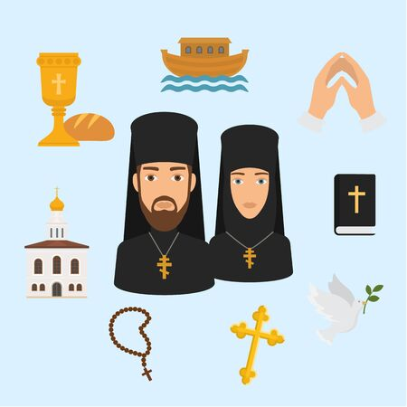 Orthodox Christianity religion symbols vector illustration. Isolated religious icon, church and Jesus Christ bread and wine, holy bible, Christian dove and priest with nun, hands in prayer.