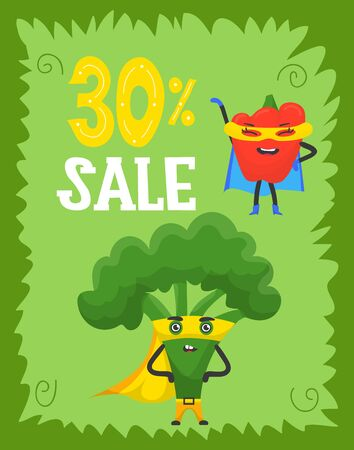 Funny vegetables hero and sale, superhero characters in capes and masks, flat style cartoon vector illustrations. Green banner with sale figures. Funny vegetables superhero characters.