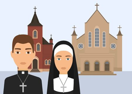 Catholic religion vector illustration. Pastor character and catholic nun with cross and cathedral or church isolated on white background. Christian religion of Catholisism