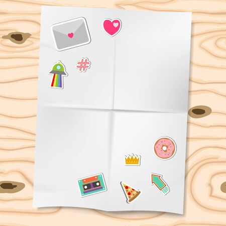Patches or stickers isolated on white folded paper and wooden background vector illustration. Set of patches with heart, letter, pitzza and retro cassete. Illustration
