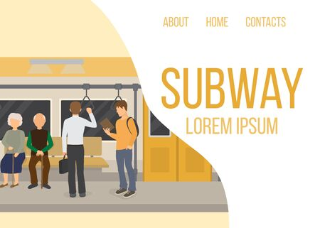 Subway inside with people, old couple and man vector web template. Metro and train interior. Urban subway. Illustration of metro and underground station with passenger people. Illustration