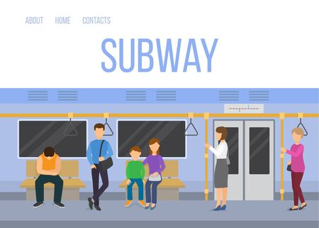 Subway underground train car interior with commuting passengers sitting standing vector illustration. Subway web template in blue colors.