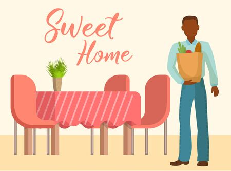 Sweet home interior of the living room with table, chairs and man with products bags vector illustration. Cartoon design of a cozy living room with lettering sweet home. Stock Vector - 128472649