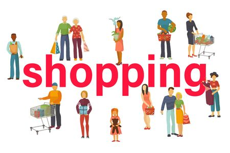 People buy with shopping bags with purchases vector illustration. Old and young couples and kids taking part in seasonal sale at store, shop, mall. Cartoon characters shoppers.