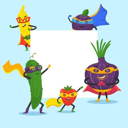 Superhero vegetables vector frame illustration. Cartoon super hero veggies with funny banana, pepper, onion and cucamber in masks. Vegetarian set isolated on white background. 일러스트