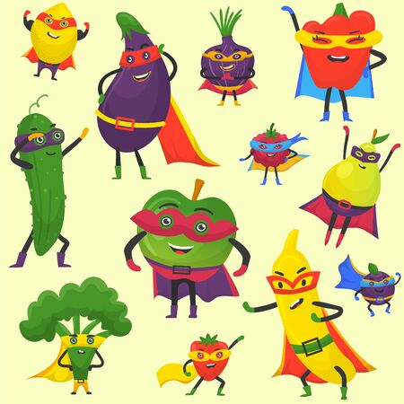 Superhero fruit and vegetables vector pattern. Super banana, eggplant with broccoli, onion, pepper in hero cloak costume. Garden superheroes healthy food. Fruit and vegetables hero characters.