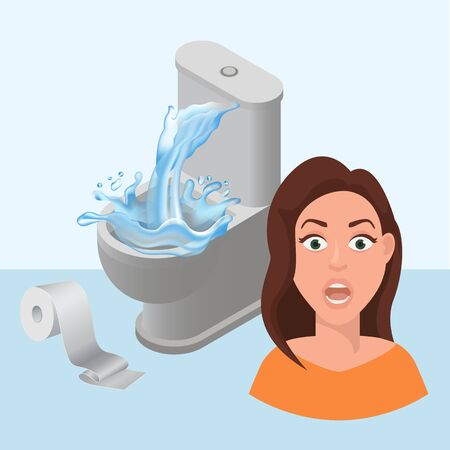Littering toilet clogged and water splash, toilet paper littered vector cartoon illustration with girls scared face. Leakage canalization. Litter in WC and lavatory pan repair. Иллюстрация