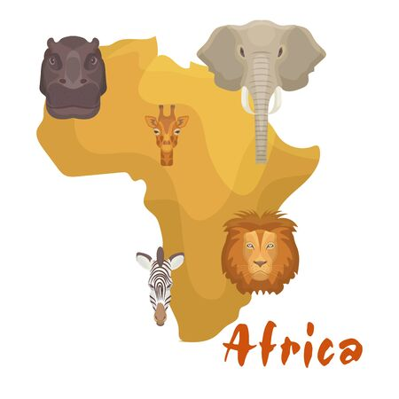 Africa animals map or continent vector illustration. Lion, elephant, zebra and giraffe cartoon savanna african animals heads on yellow Africa. Education, travelling, continents isolated on white.