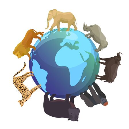Wild animals around globe banner vector illustration. World wildlife day and animals planet concept, world continents fauna, world map with wild animals. Elephant, monkey, bear and lion.