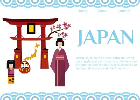 Japan symbols for travellers web vector template. Set of Japanese-themed design elements including geisha, Shinto gate, Japanese doll and sakura. Travel to Japan.
