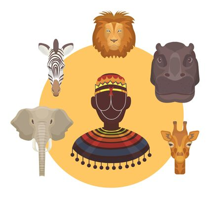 African animals and human heads and afro vector illustration lion, elephant, giraffe with zebra and hippopotamus. Collection of wild african animal heads or masks of totem. Иллюстрация