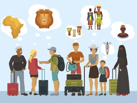 Africa tourists vector illustration. Different nation and religion travellers thinking of african continent, lions, ethnic culture and afro wild people tribes. Vacation and adventure.