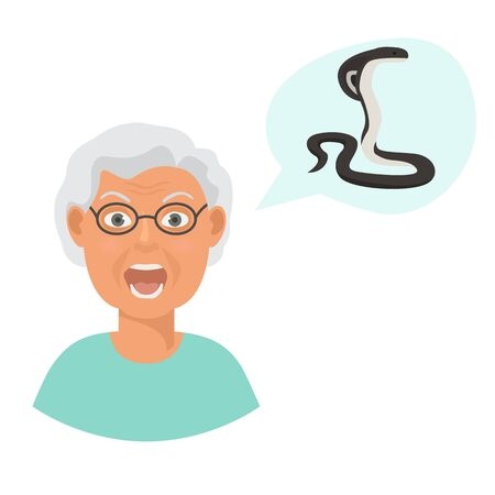 Snakes scared head of eldery woman cartoon vector illustration. Grandmother suffering from the fear and terror of poisonous snake cobra.