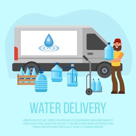 Water delivery service. Vector character with delivery cart with bottles. Water cooler rental, supply and shipping service poster illustration. Bottled water shipment worker.