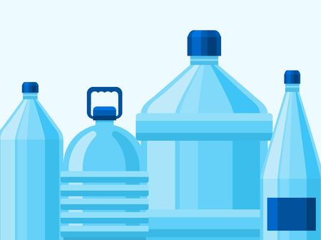 Drinking mineral water bottles packaging vector illustration. Mockup or magazine design. Blue drink water package simple design.