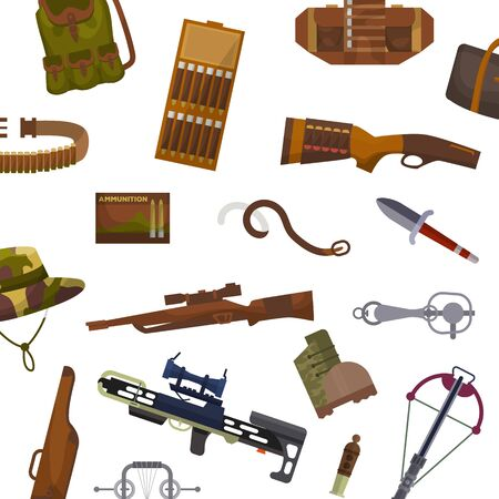 Weapon and hunting vector pattern illustrations. Guns, pistols to shoot and riffle, camouflage backpack and crossbow weapons and hunting.
