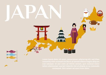 Traditional Japan travel map, famous culture symbols vector illustration. Japan travel and tour in Japanese oriental word. Tea kettle, geisha, shinko gates and pagoda on golden map of Japan.
