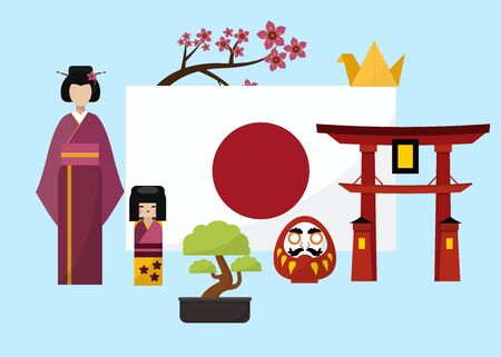 Japan poster with geisha and traditional famous elements and symbols vector illustration. Japanese gates with flag, sakura and bonsai tree, geisha with doll. Japan travel poster.