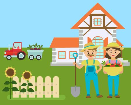 Cartoon farm, farmers with eco production, country landscape vector illustration. Farm agriculture and rural farming eco vegetables. Farmer, his wife near country house and tractor carries products.