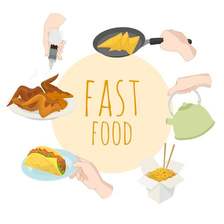 Fast food special offer vector illustration. Junk food frame with hands . Soda, hot dog, pizza, burger and french fries drawing. Great for label, menu, poster, banner, voucher, coupon
