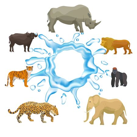 Wild animals with splash of water isolated on white background vector collection. Tiger, elephant, hippo and yak, lion with gorilla. In need for pure water wild animals protection.