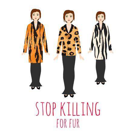 Hören Sie auf, Tiere für die Pelzvektorillustration zu töten. Frauen tragen Pelzmantel aus wilden Tieren. Naturtierschutz und Protest mit Pelz. Leben retten Konzept. Vektorgrafik