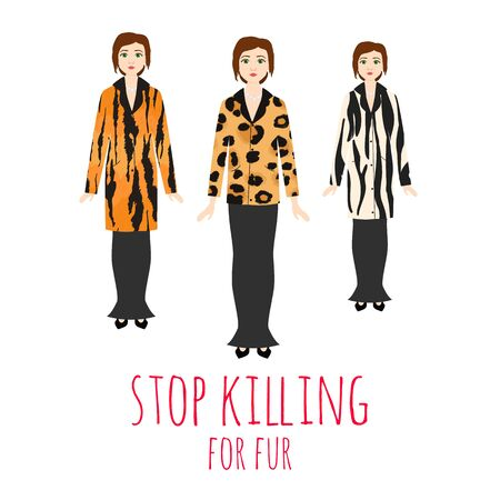 Stop killing animals for fur vector illustration. Woman wear fur coat made from wild animals. Nature animal protection and protest wearing fur. Saving life concept. Ilustrace