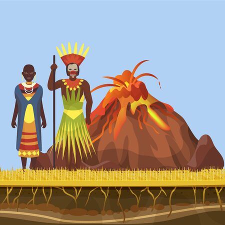 The volcano woke up and spewed out lava, fire and flame in Africa with african aborigens vector illustration. Volcanic activity, magma and african native tribe family for poster or landing.