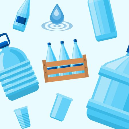 Plastic blue bottles of drink water and cups vector pattern. Perfect for drink water delivery packaging design. Isolated on white background.