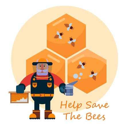 Beekeeping concept with beekeper character or apiarian in hat and honey combs cartoon vector illustration. Honey, flying bees, and dipper with honey. Help save the bees.