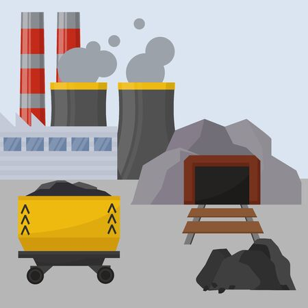 Coal mining,industrial facilities with spoil tip and with rail car vector illustration. Coal mining production industry, poster background. Illustration