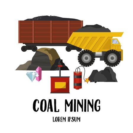 Coal mining industry and transportation vector illustration set. Trucks full of coal, wagons and coalmine with coal rock explosive and diamonds elements isolated on white.