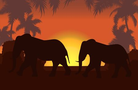 Elephants in African savanna at sunset vector illustration. Doum palms, acacia. Silhouettes of animals and plants. Realistic landscape. African elephants. Reserves and national parks.