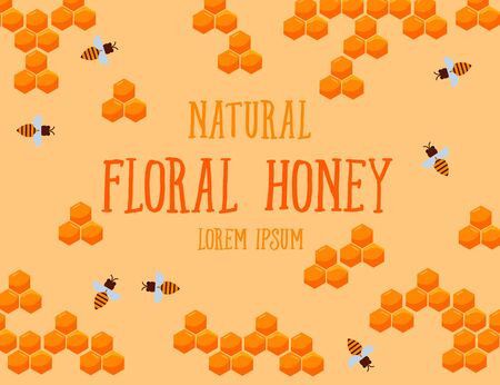 Natural floral honey poster with honeycombs and bee, vector illustration. Cartoon floral honey combs on yellow background and typography. Ilustracja