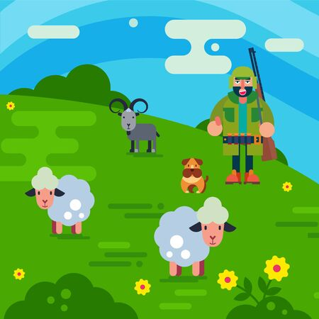 Shepherd with gun and dog herding flock of white sheeps cartoon vector illustration. Man breeding sheep wool, farm concept. Field farmland countryside landscape with shepherd and sheeps.