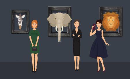 Museum exhibition of stuffed animals, african mammals vector illustration. Girls visitor watching exhibition of stuffed elephant, zebra and lion heads, making selfies. Illustration