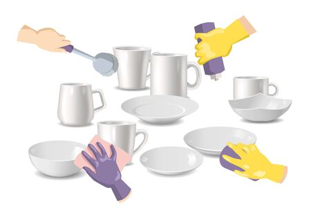 Cleaning service and household hygiene vector illustration. Hands in yellow gloves holding sponge scrubbing the dirty plates and cups with dish cleaning liquid. Clean white dishes.